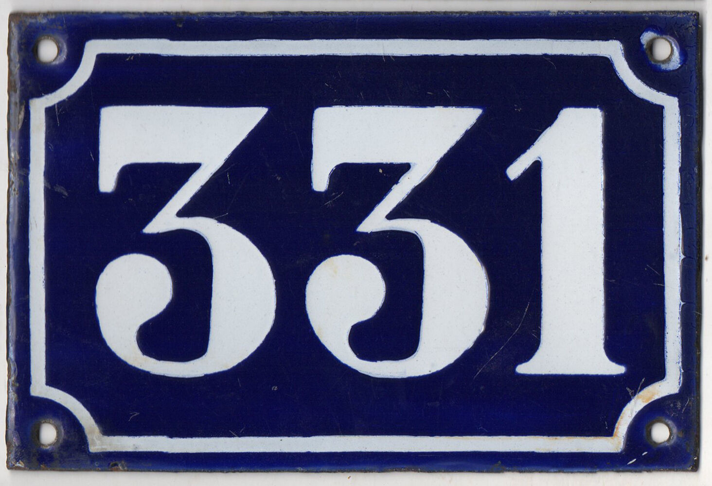 Old blue French house number 331 door gate plate plaque enamel metal sign c1900