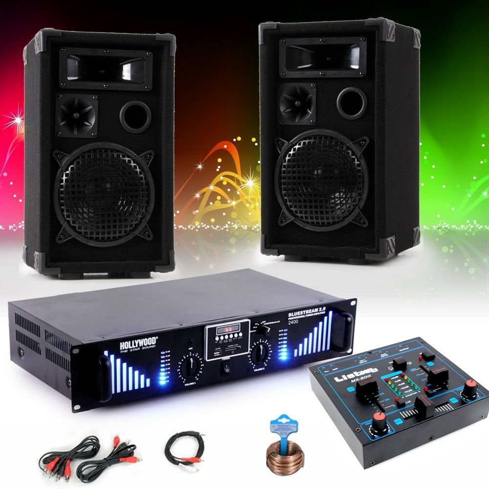 2400w pa party dj musik anlage 3 wege boxen usb mp3. Black Bedroom Furniture Sets. Home Design Ideas