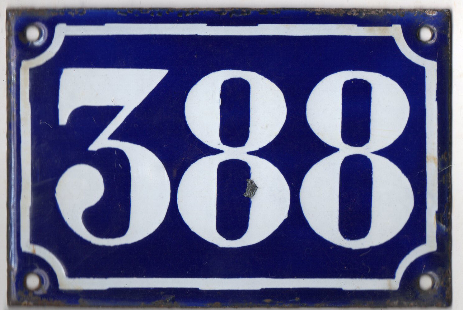 Old blue French house number 388 door gate plate plaque enamel metal sign c1900