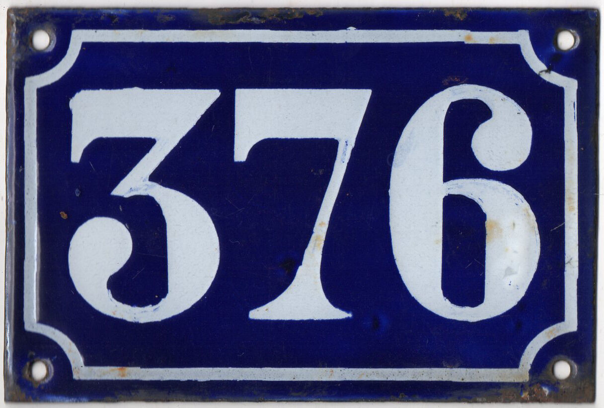 Old blue French house number 376 door gate plate plaque enamel metal sign c1900