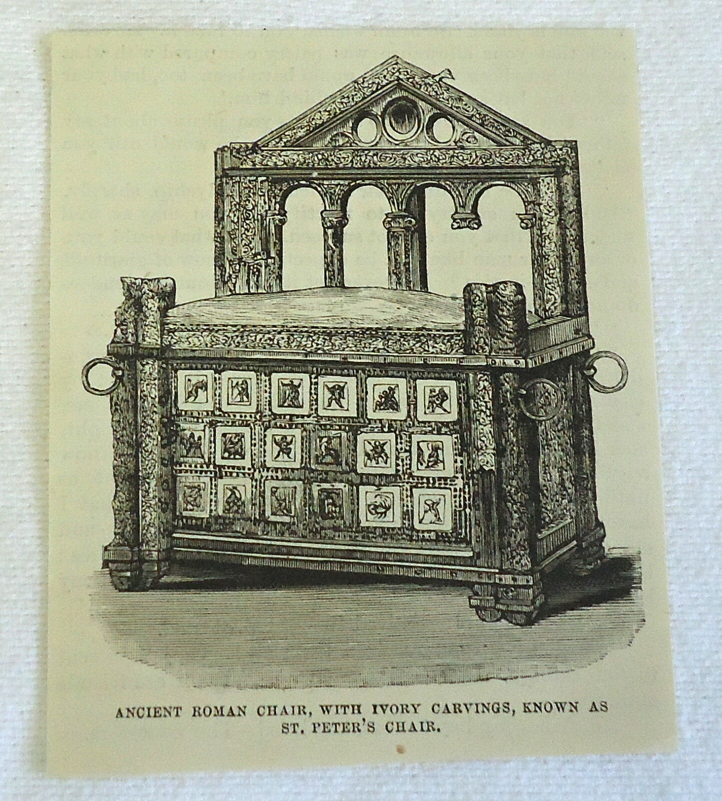 small 1878 magazine engraving ~ ANCIENT ROMAN CHAIR KNOWN AS ST. PETER'S CHAIR