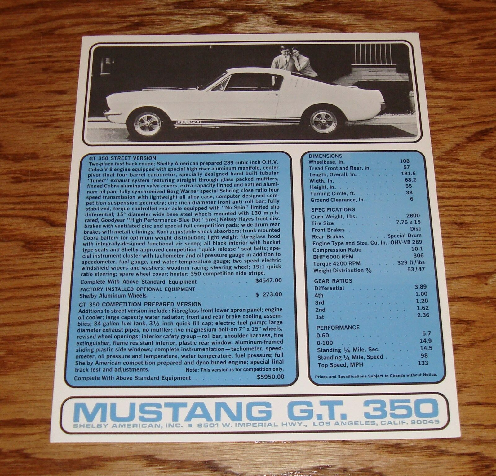 1965 Ford Mustang Gt 350 Sales Brochure Sheet 65 Shelby 600 Wiring Diagrams Of Buick Wildcat And Electra Part 2 1 See More
