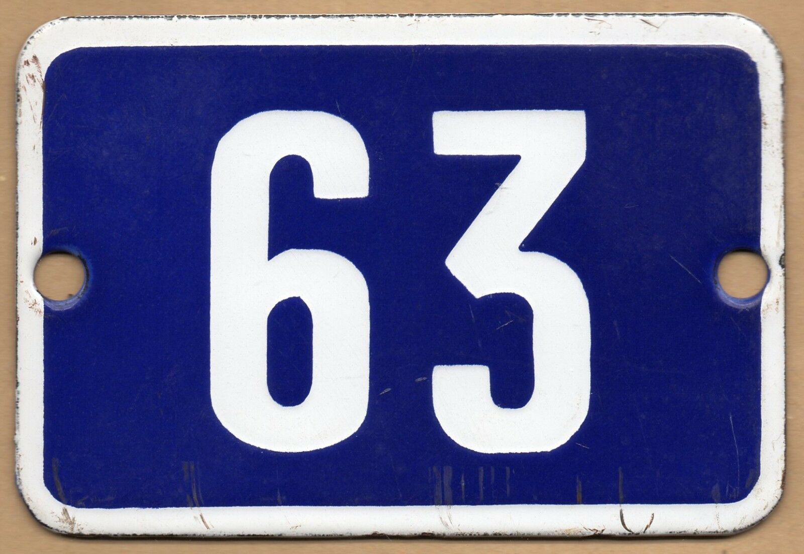 Cute old blue French house number 63 door gate plate plaque enamel metal sign