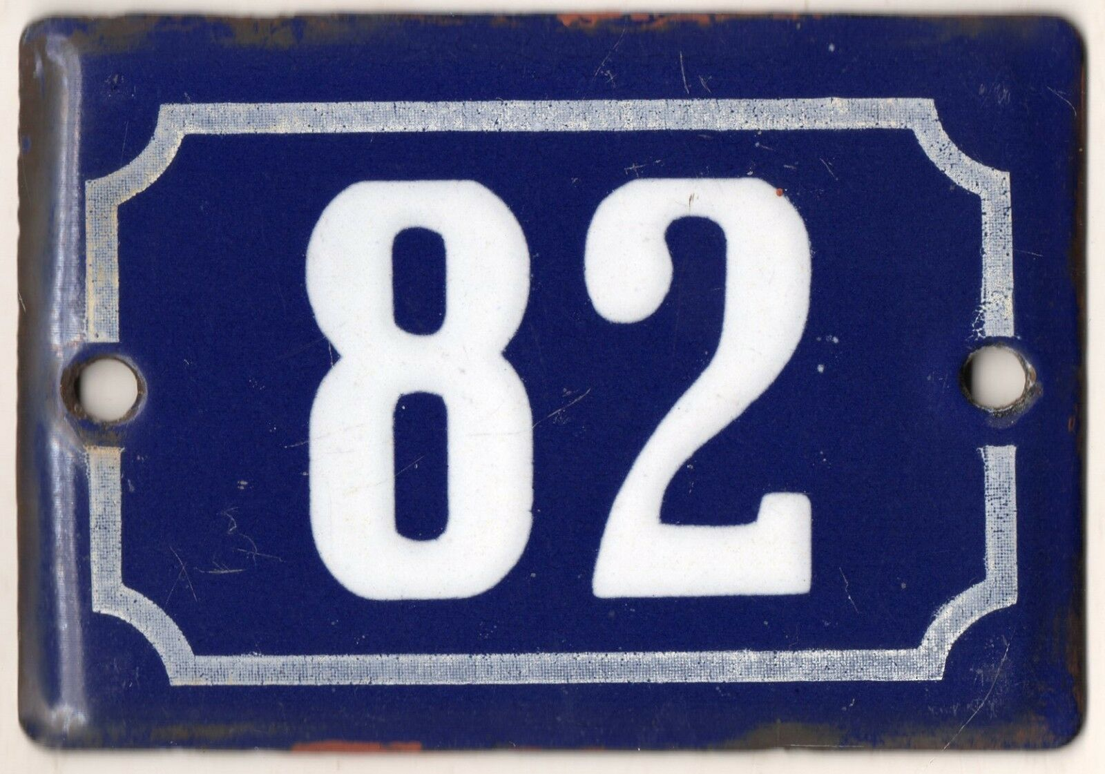 Cute old blue French house number 82 door gate plate plaque enamel metal sign