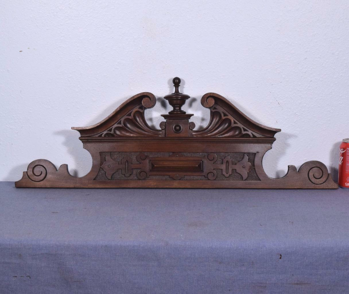 "32"" French Antique Pediment Solid Walnut Wood Crest"