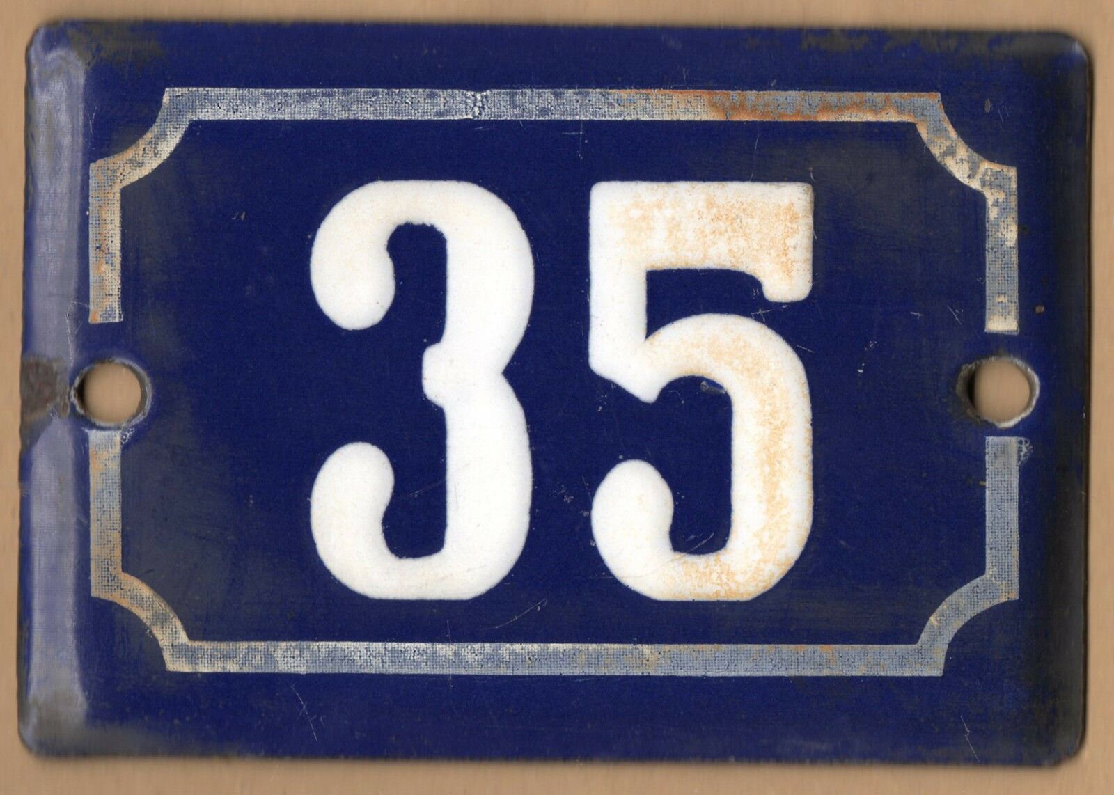 Cute old blue French house number 35 door gate plate plaque enamel metal sign