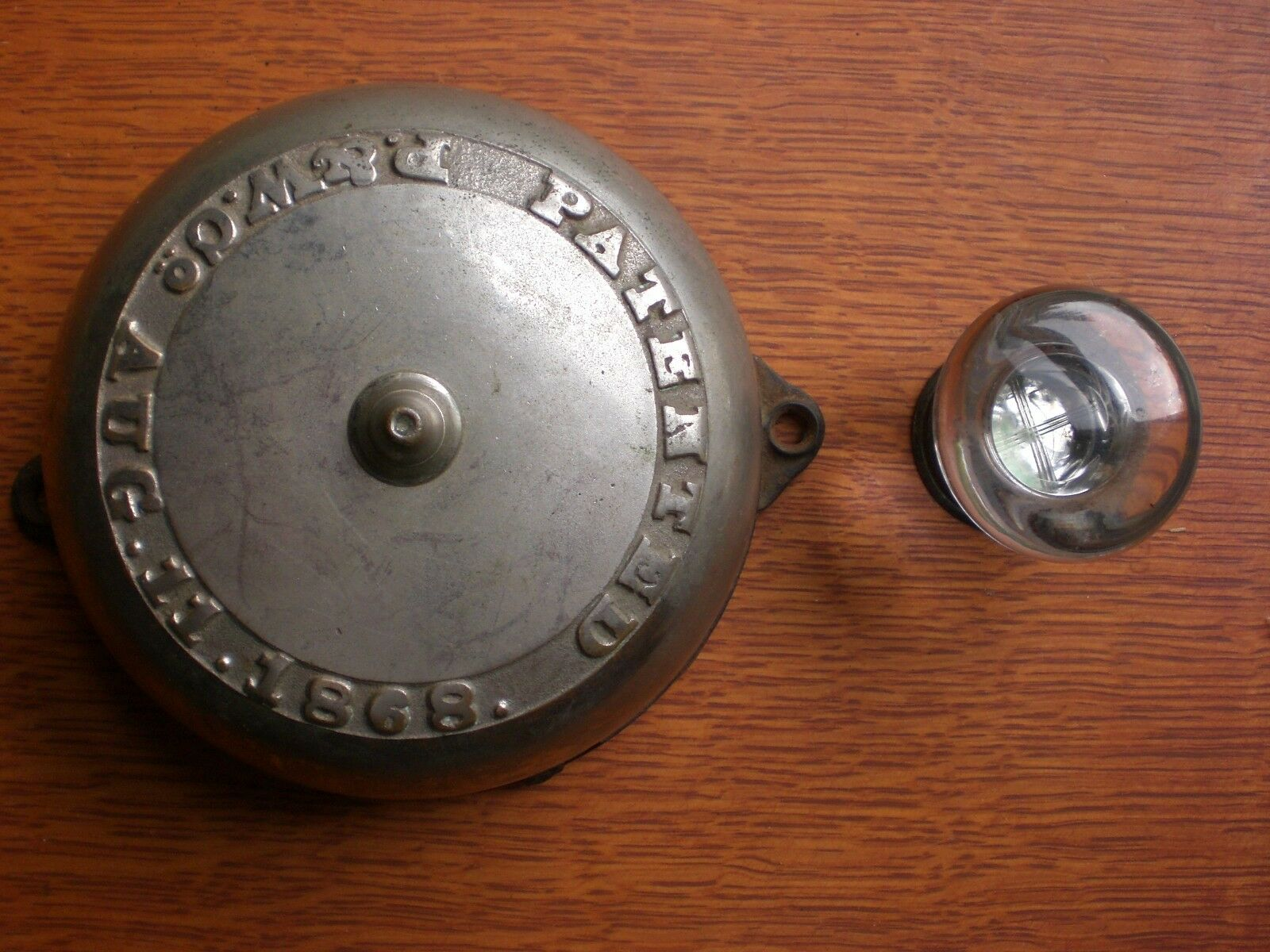 Antique Large Mechanical Nickel Doorbell & Glass Pull 1868 P & W - Dual Ringer