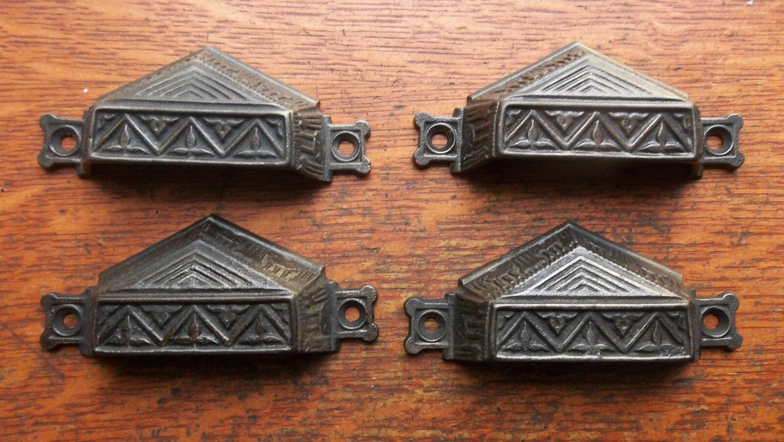 Four Antique Fancy Iron Victorian Drawer Pulls or Handles Egyptian 1895 Corbin