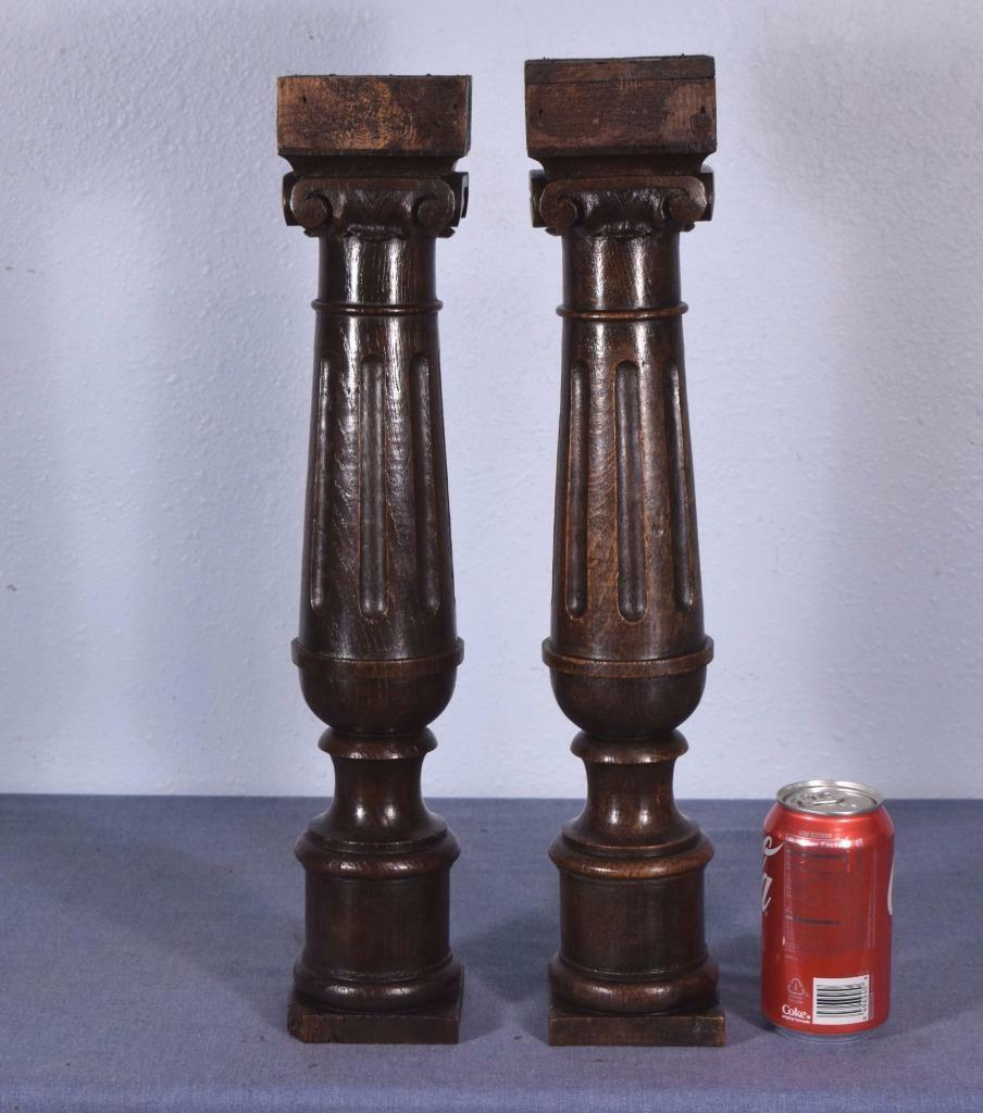 "19"" Pair of French Antique Chestnut Pillars/Posts/Ionic Columns/Balusters"