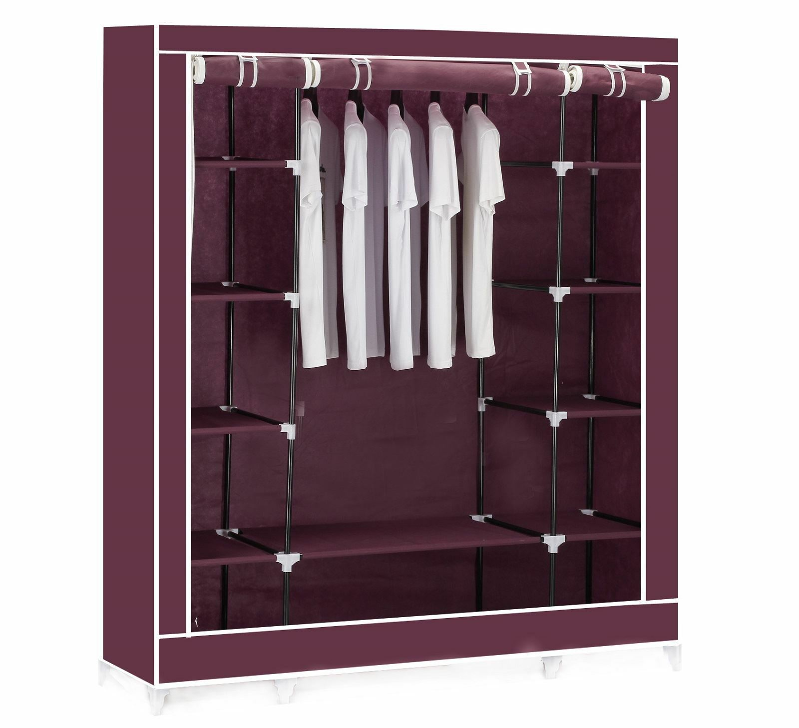 Vinsani Triple Canvas Clothes Cupboard Hanging Rail With Storage Shelves Red Eur 22 80