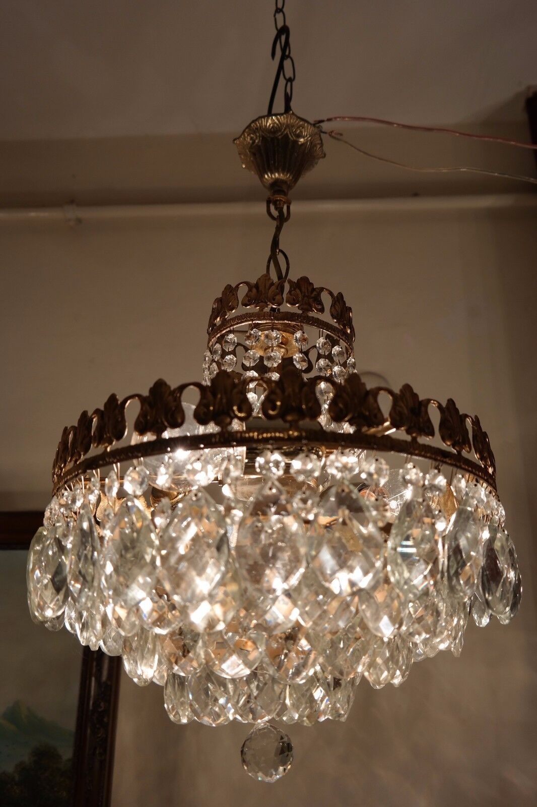 Antique Vnt.French  Basket Style Crystal Chandelier Lamp 1940's.14 in