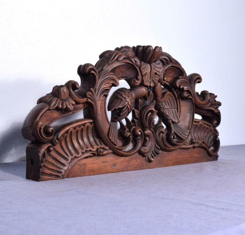 "*25"" French Pediment/Crest in Solid Hand Carved Wood with Love Birds"