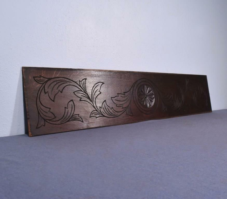 """*48"""" French Antique Hand Carved Architectural Panel Solid Oak Wood Trim"""