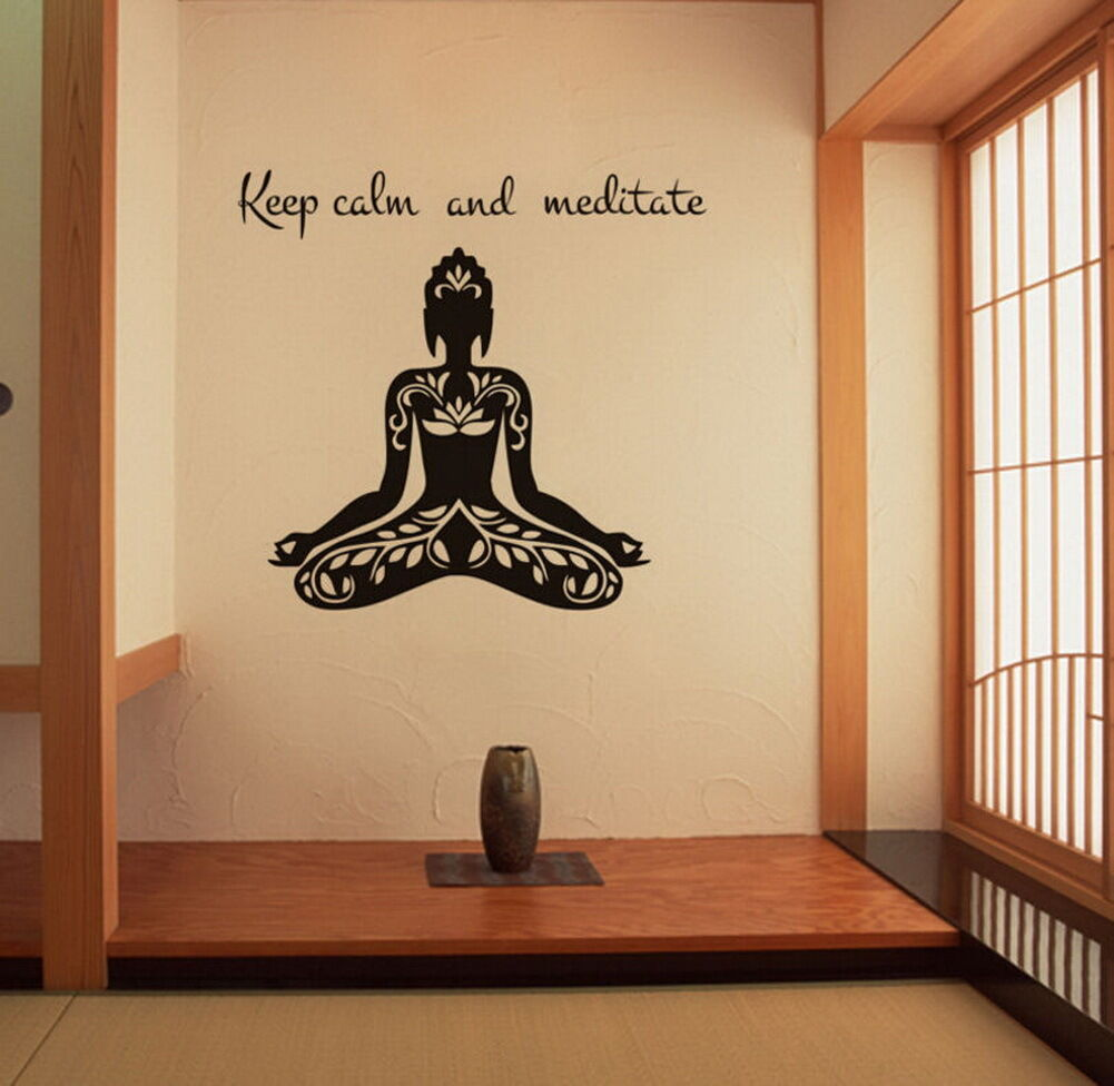 MEDITATING BUDDHA WALL Sticker Religion Decal Home Art Decor Vinyl ...
