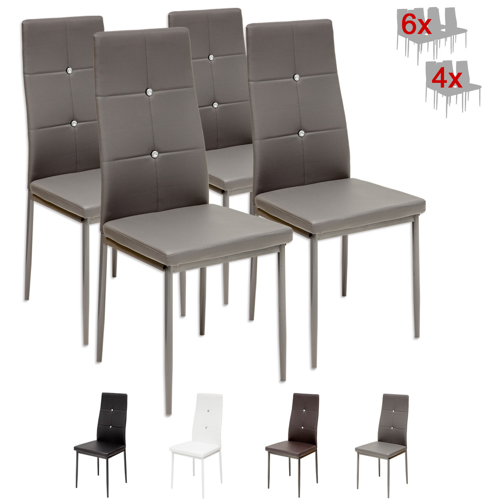 4 x esszimmerst hle diamond grau esszimmerstuhl. Black Bedroom Furniture Sets. Home Design Ideas