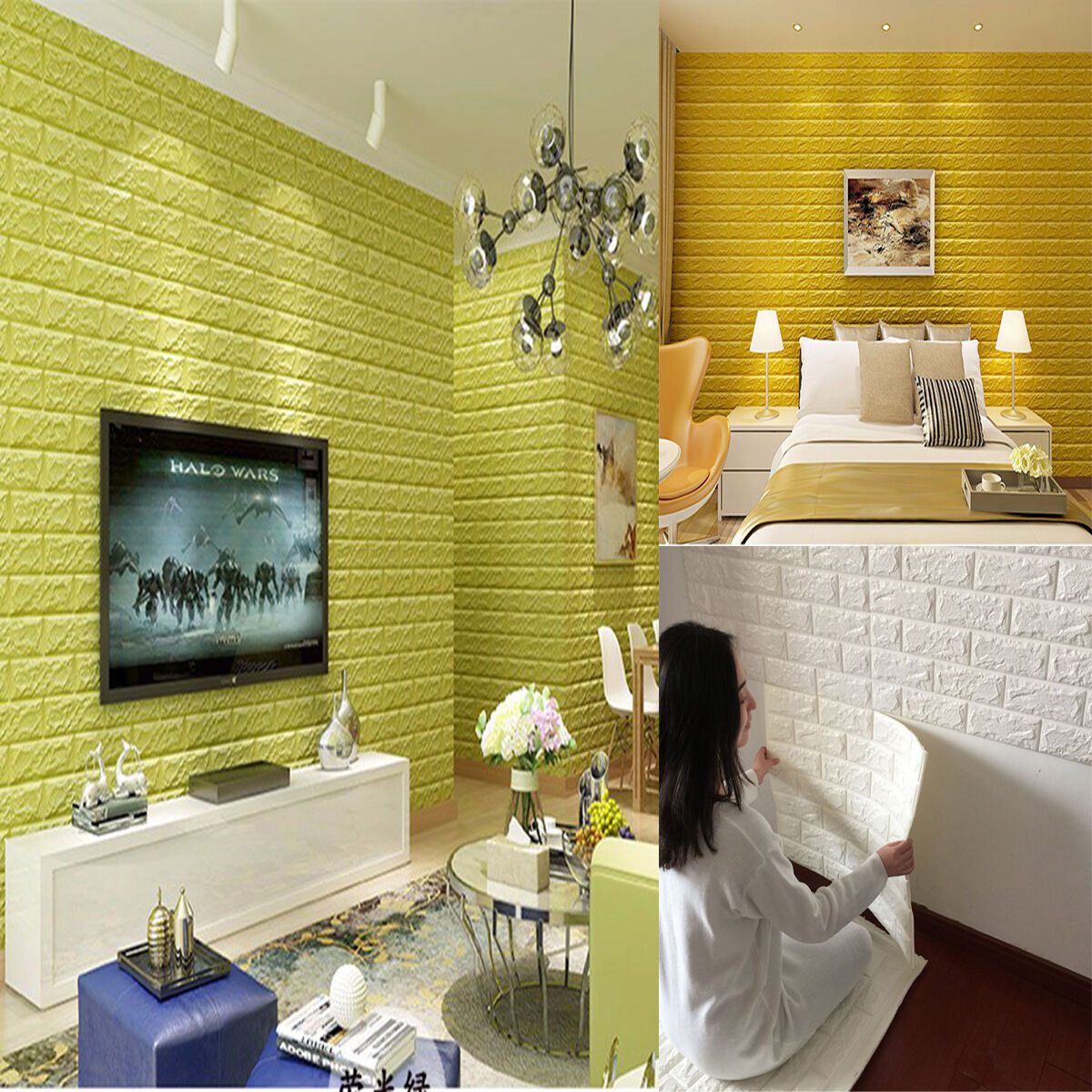 3D EFFECT STONE Brick Wall Stickers Soft Foam Panels Self-adhesive ...
