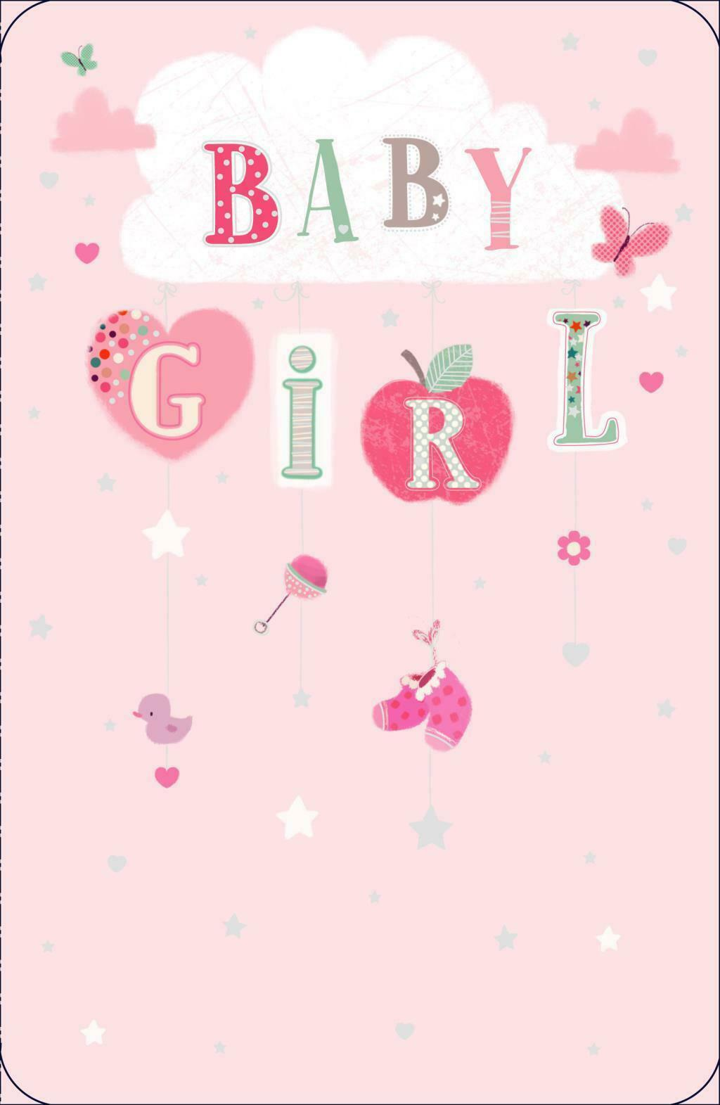 New Born Baby Girl Congratulations Birth Greeting Card 290