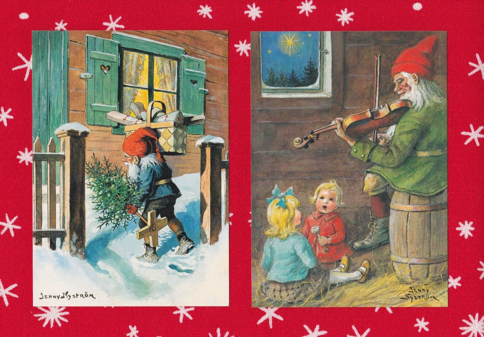 TWO SWEDISH CHRISTMAS post cards with gnomes illustrated by Jenny ...