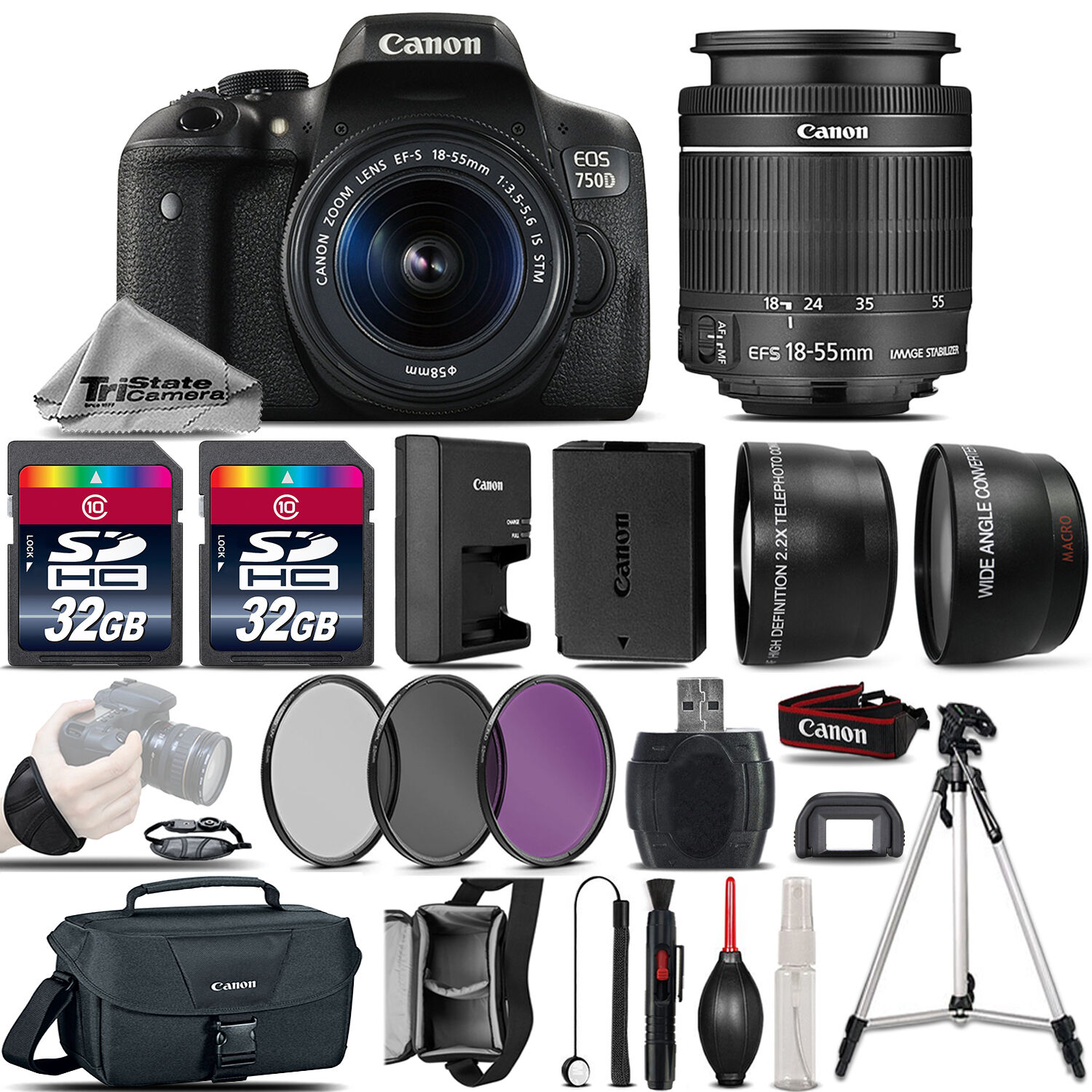 Canon Eos Rebel 750d T6i Camera 18 55mm Is Stm Lens 64gb 3 6d Kit 24 105mm F 35 56 Wifi And Gps