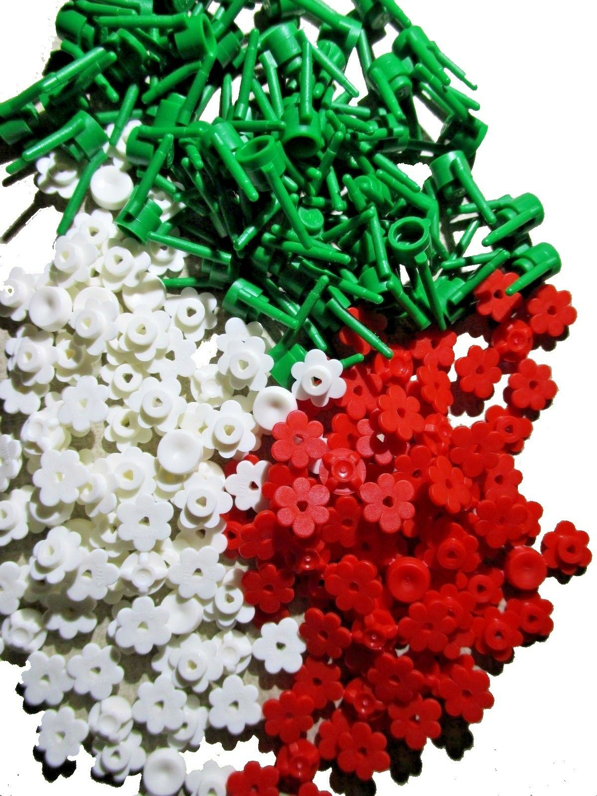 100x New Lego Flowers Red And White Plants Stems Spruces Mix