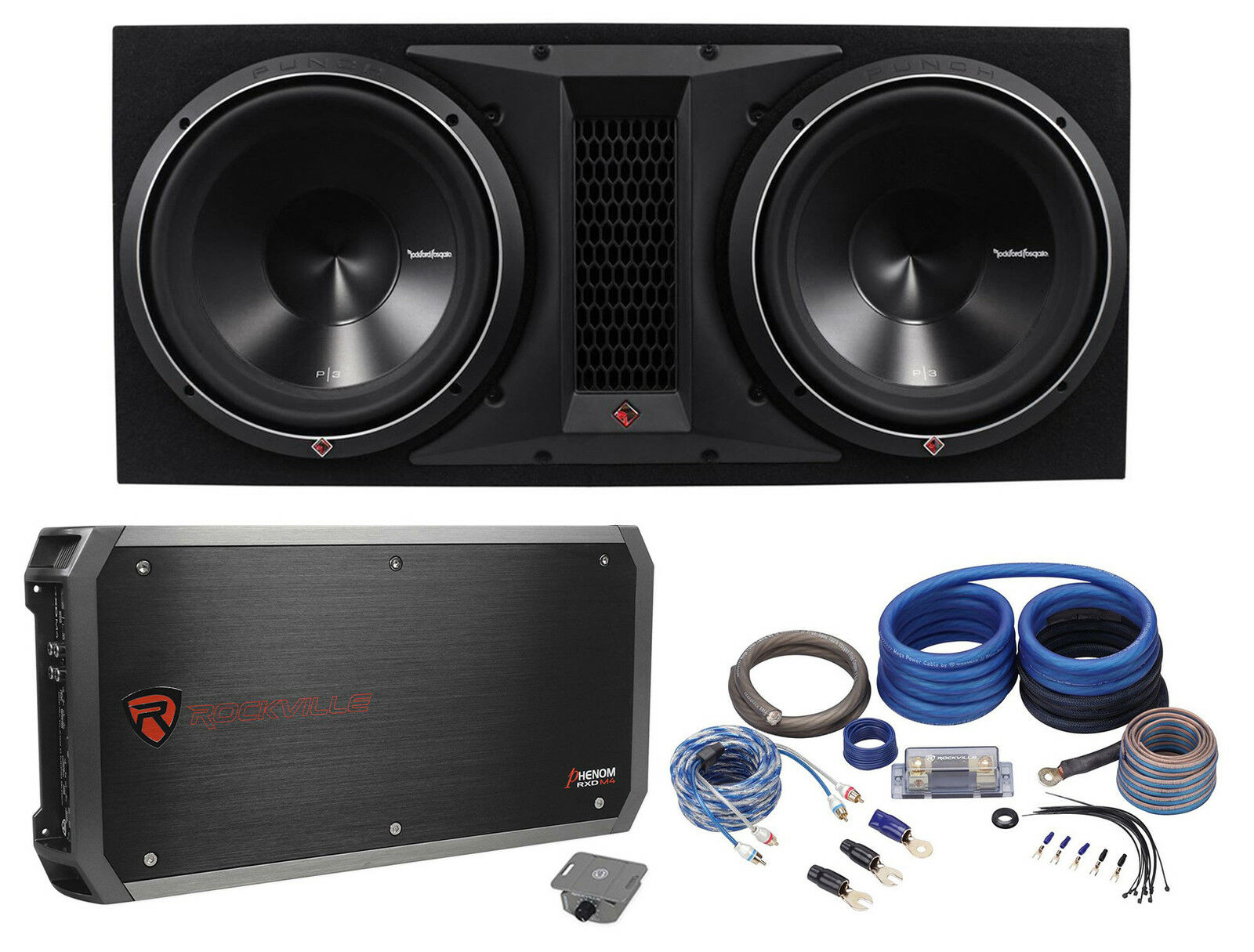 """Rockford Fosgate P3-2X12 Dual 12"""" 2400W Loaded Vented Subwoofer Box+Amp+ 1  of 10FREE Shipping Rockford Fosgate ..."""