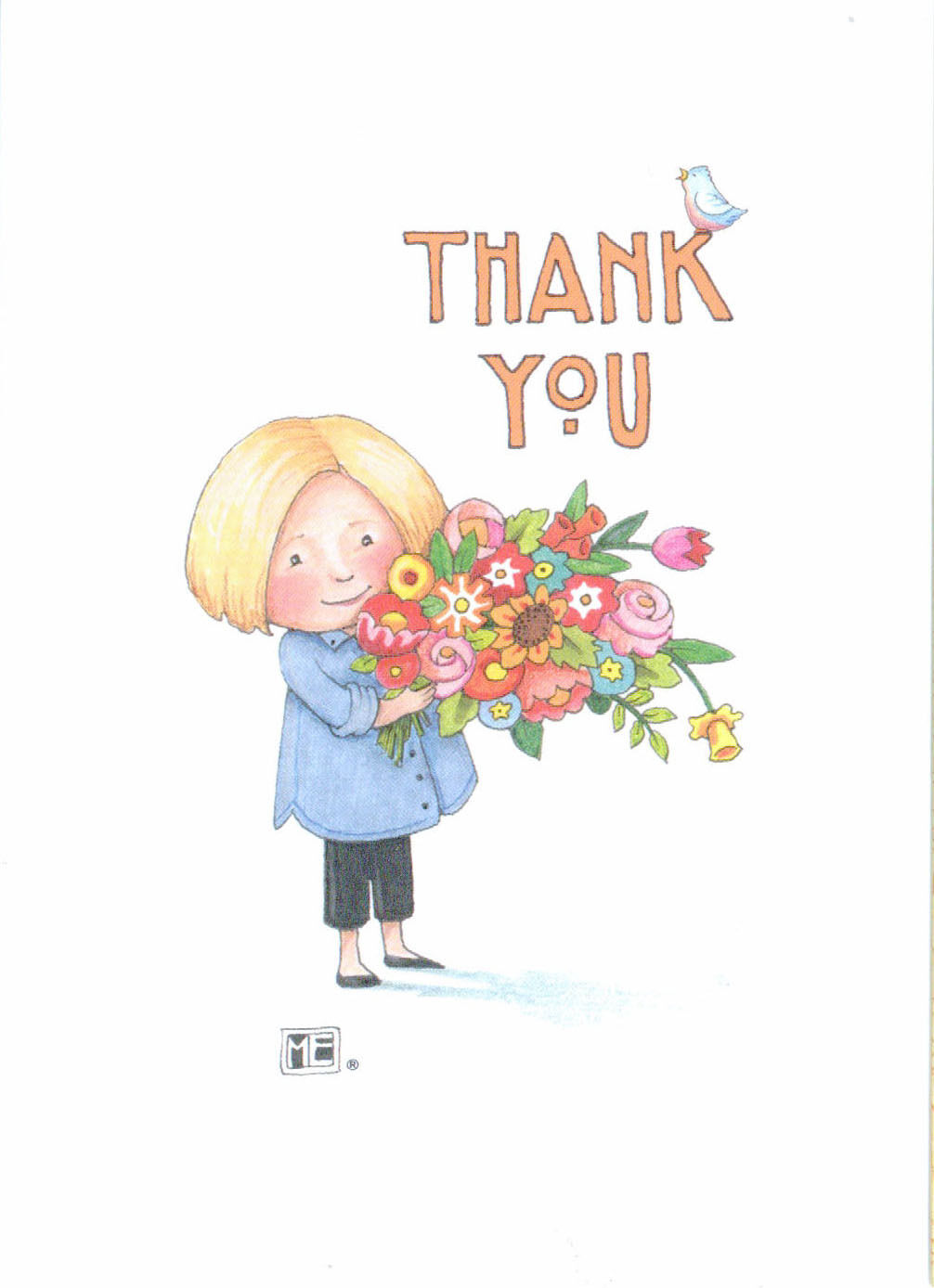 Mary Engelbreit Flowers For You Thank You Blank Greeting Card