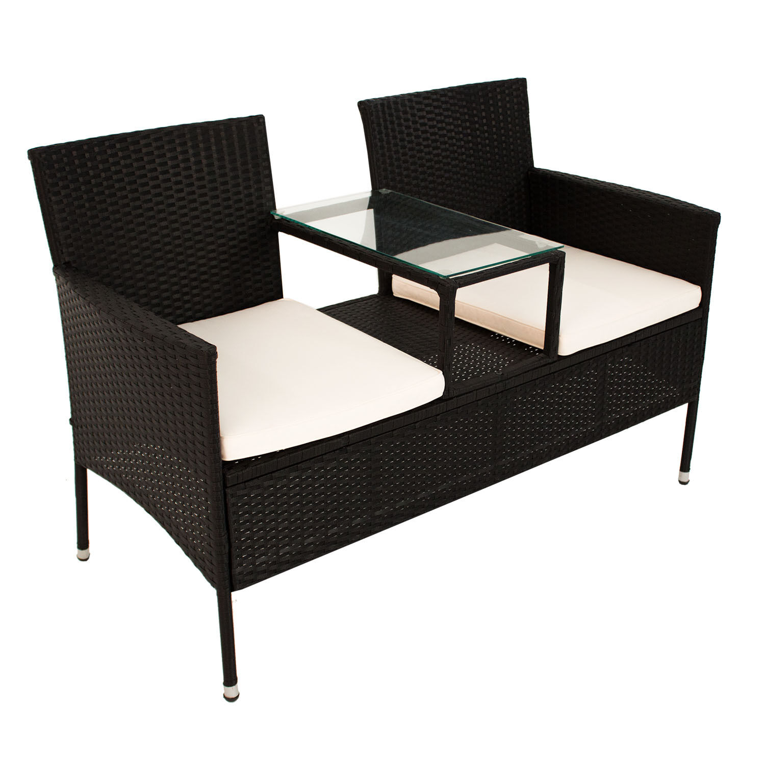 polyrattan gartenm bel gartenbank sitzbank mit tisch. Black Bedroom Furniture Sets. Home Design Ideas