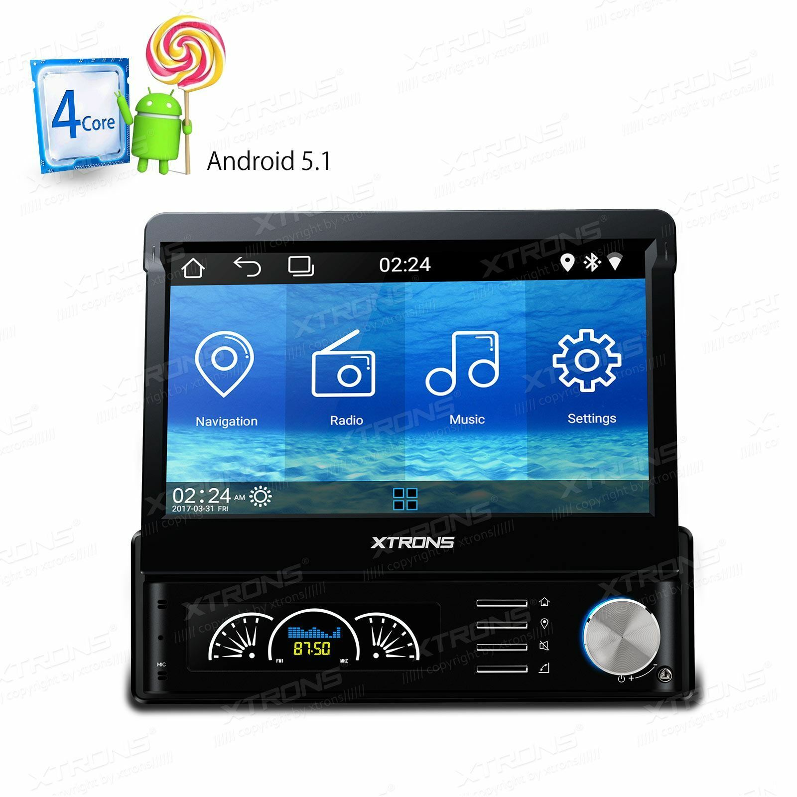 uk 7 single 1 din android 5 1 car stereo radio motorized. Black Bedroom Furniture Sets. Home Design Ideas