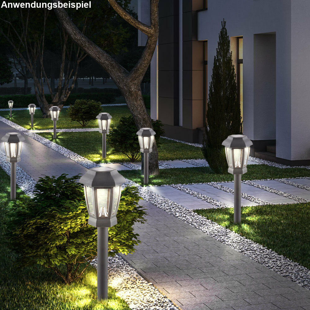 8er set led solar au en steh lampen anthrazit terrassen leuchten erdspie akku eur 19 90. Black Bedroom Furniture Sets. Home Design Ideas