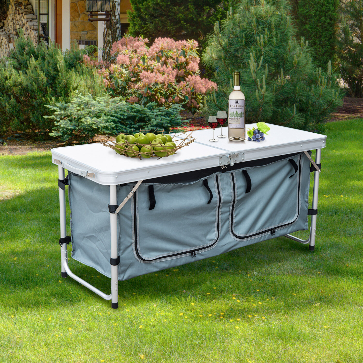 Portable Outdoor Kitchens: PICNIC TABLE FOLDING Portable Adjustable Height Aluminum