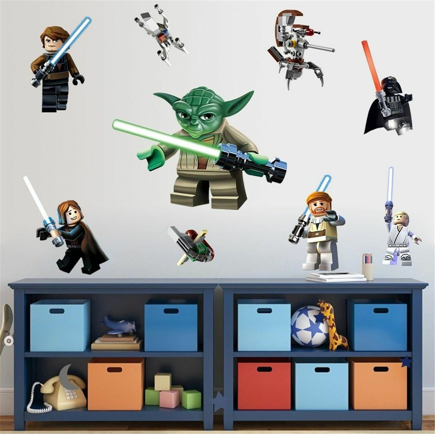 Lego star wars 3d decal wall sticker vinyl mural kids room for Autocollant mural star wars