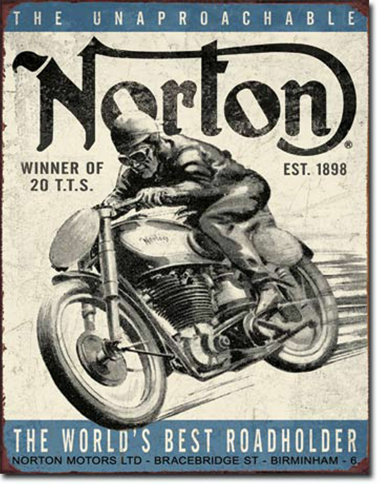 norton motorcycle large vintage style retro metal tin sign biker gift 1706 chf picclick ch. Black Bedroom Furniture Sets. Home Design Ideas
