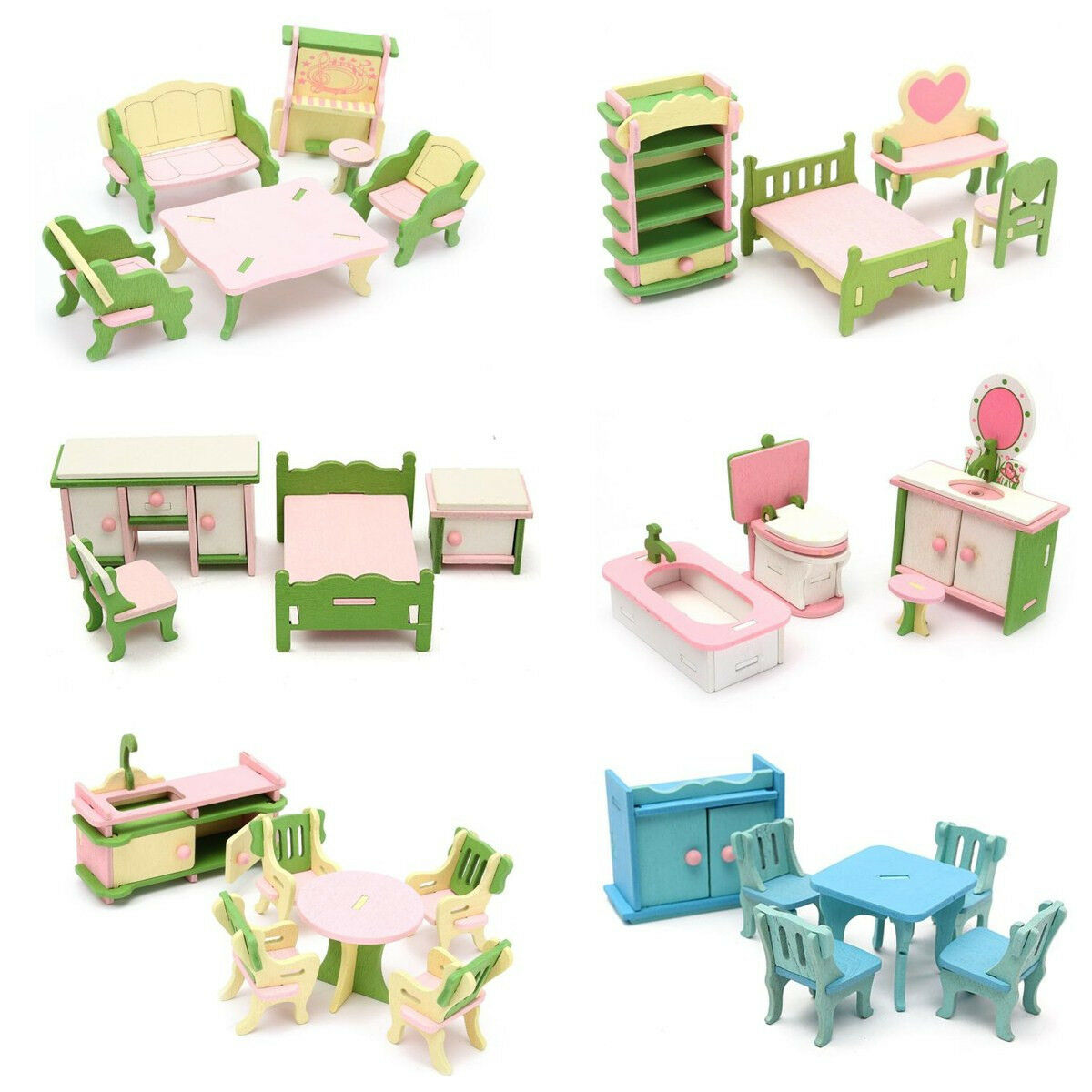 Wooden furniture dolls house family miniature 6 set room child kids gift toys picclick uk Dolls wooden furniture