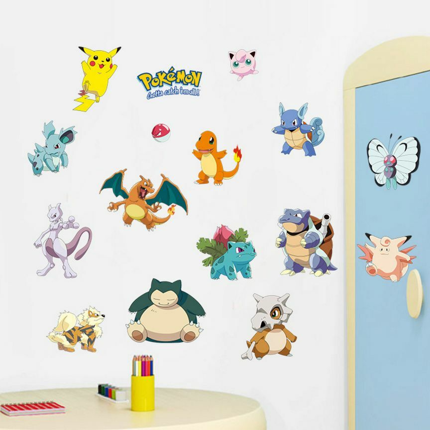 Hot pokemon peel and stick wall decals sticker vinyl mural for Autocolant mural