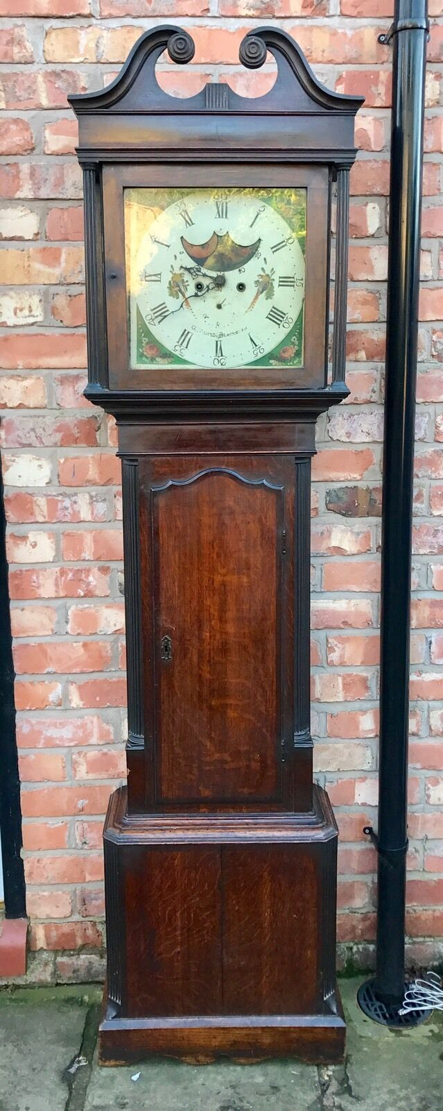 Oak And Mahogany Cross Banded 8 Day Grand Father Clock By G. Stones Blackburn