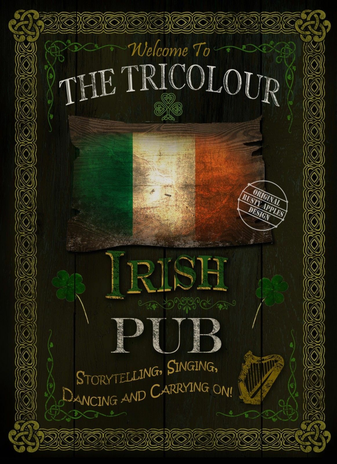 The tricolour traditional irish pub sign home decor for Irish home decorations