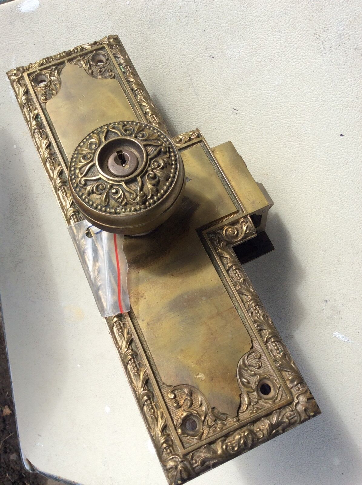 Antique Victorian Bronze Entry Door Lock unit set with 2 knobs 1 of 12Only  1 available ... - ANTIQUE VICTORIAN Bronze Entry Door Lock Unit Set With 2 Knobs