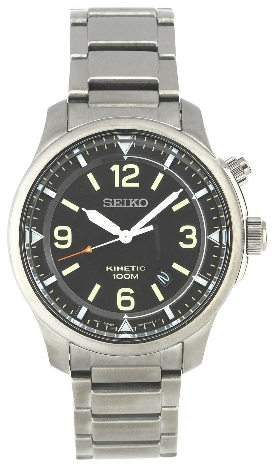 seiko mens black easy read kinetic stainless