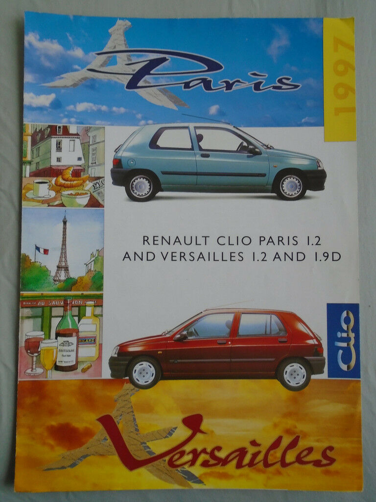 renault clio paris 1 2 versailles 1 2 1 9d brochure dec 1996 picclick uk. Black Bedroom Furniture Sets. Home Design Ideas