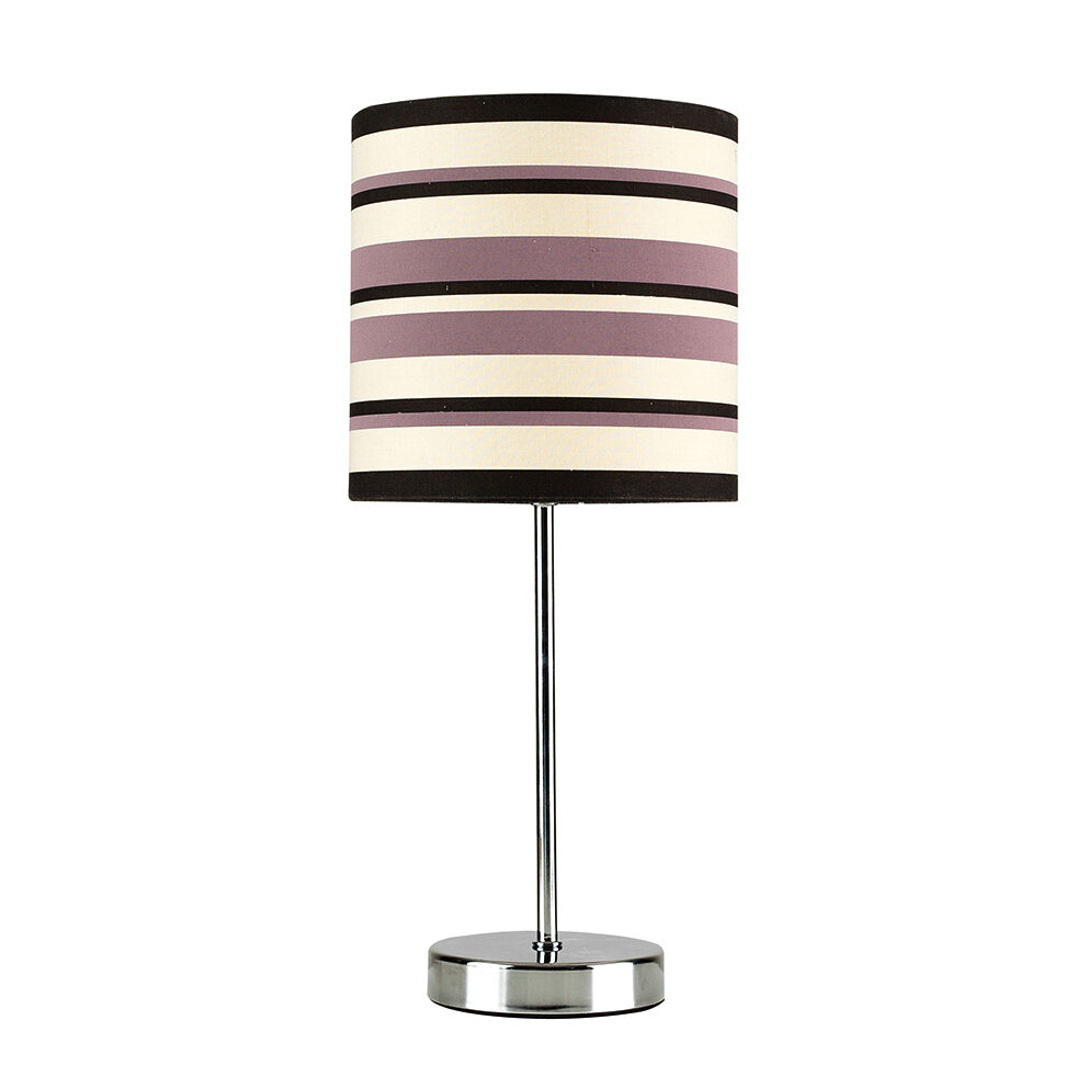 Modern Chrome Striped Lampshade Touch Dimmer Bedside Table Lamp Light Lamps Picclick Uk