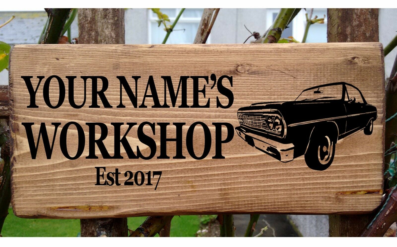 Personalised car garage workshop shed door sign plaque for Plaque w garage assurance