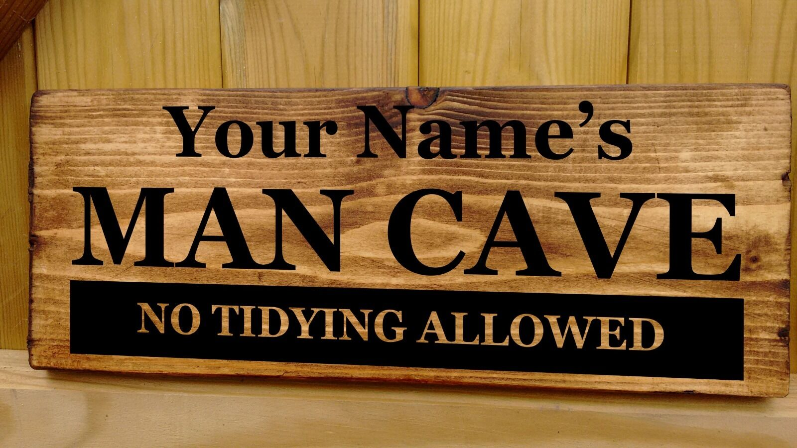 Personalised name man cave door sign shed garage workshop for Plaque w garage assurance