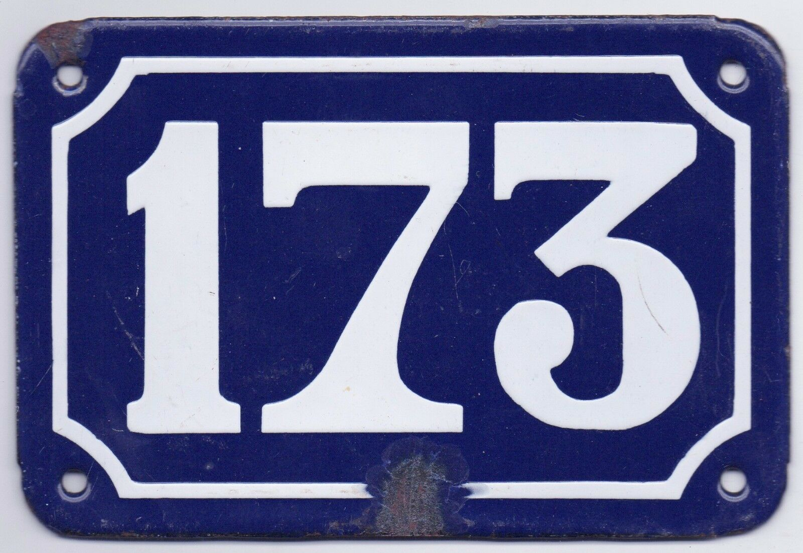Old blue French house number 173 door gate plate plaque enamel steel metal sign