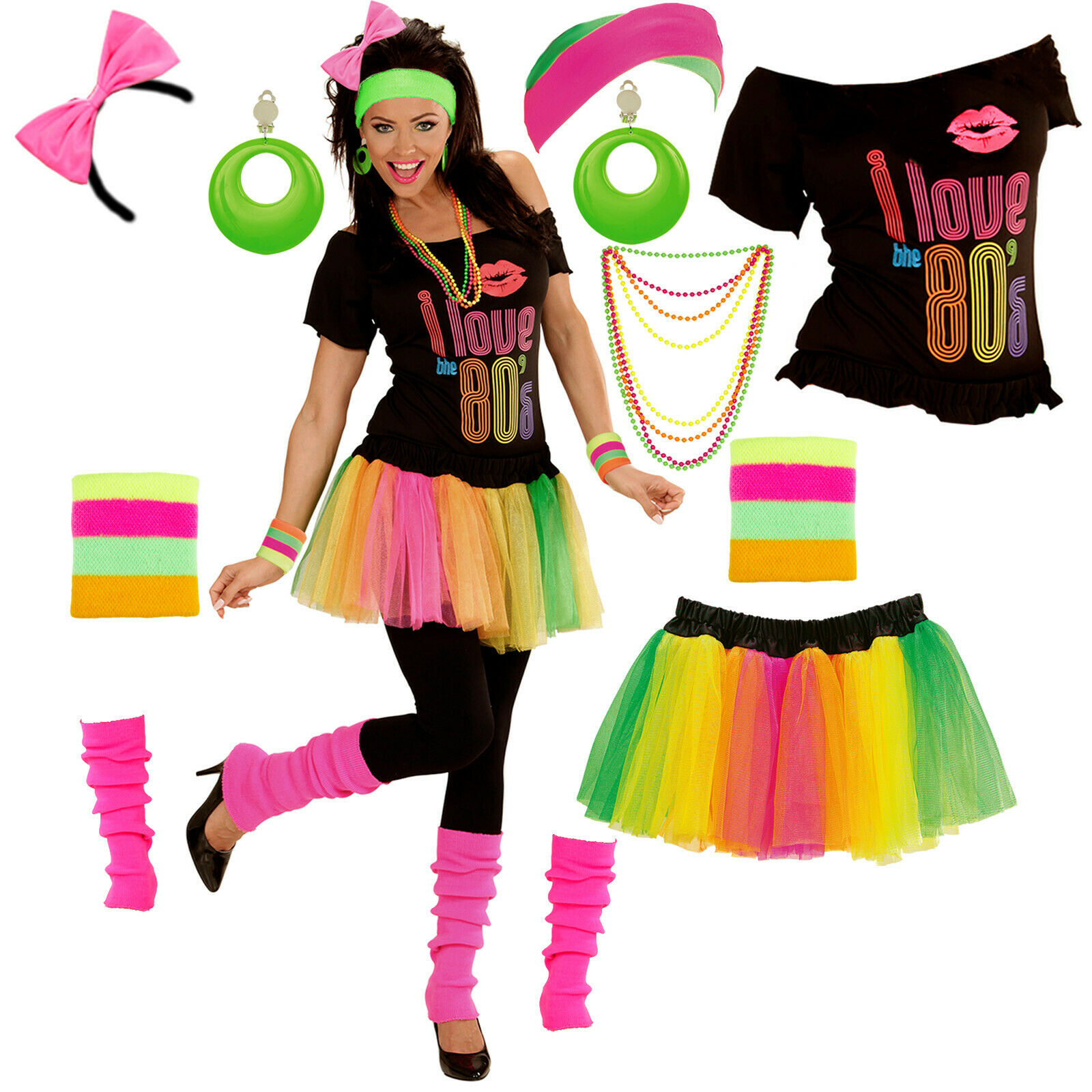 80er jahre party kost m f r damen mit modeschmuck neon for Accessoires 80er party