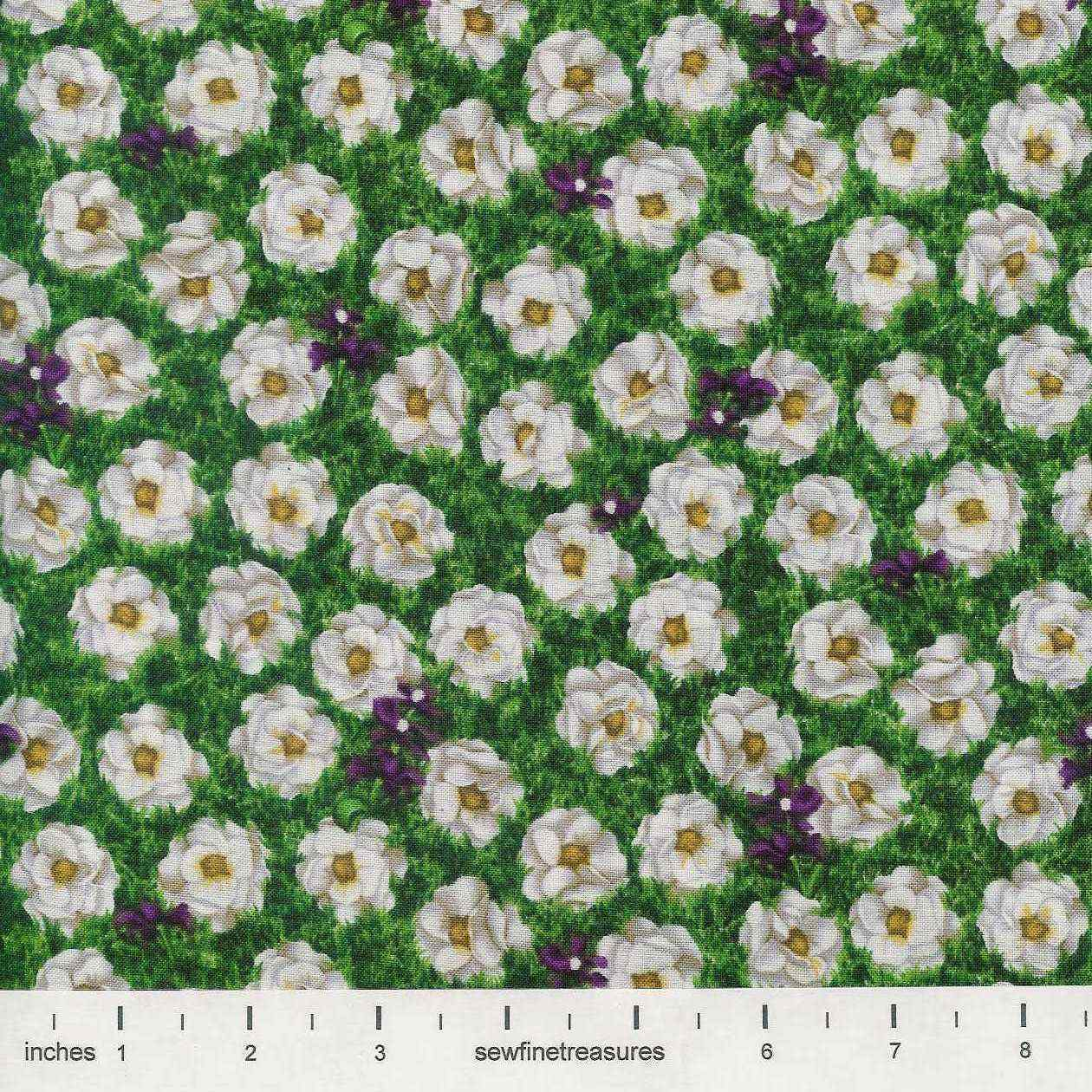 The Wizard Of Oz White Poppies Flowers Poppy Green Oop Fabric By The