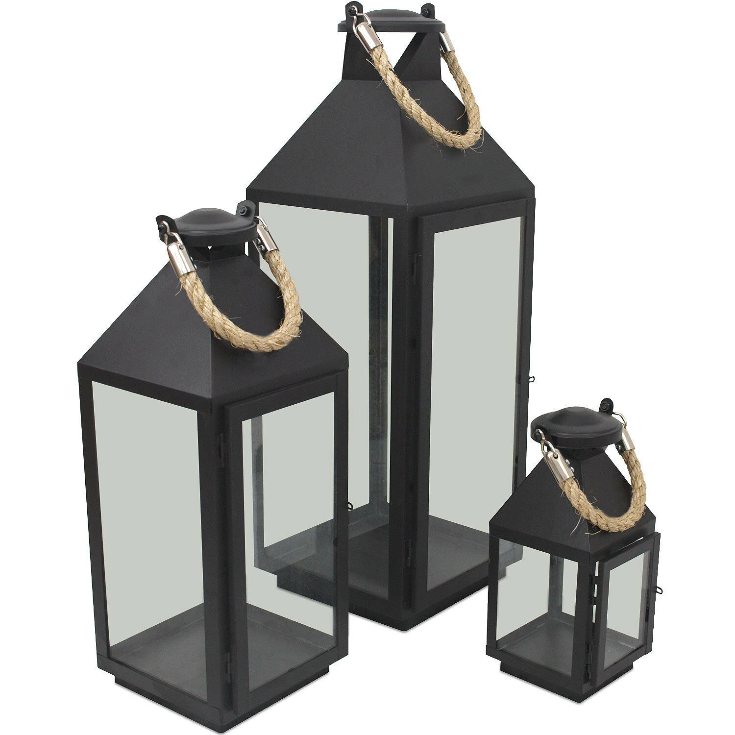 3er set laternen windlichter h24 41 55cm metall glas gartenlaterne f r kerzen eur 39 99. Black Bedroom Furniture Sets. Home Design Ideas