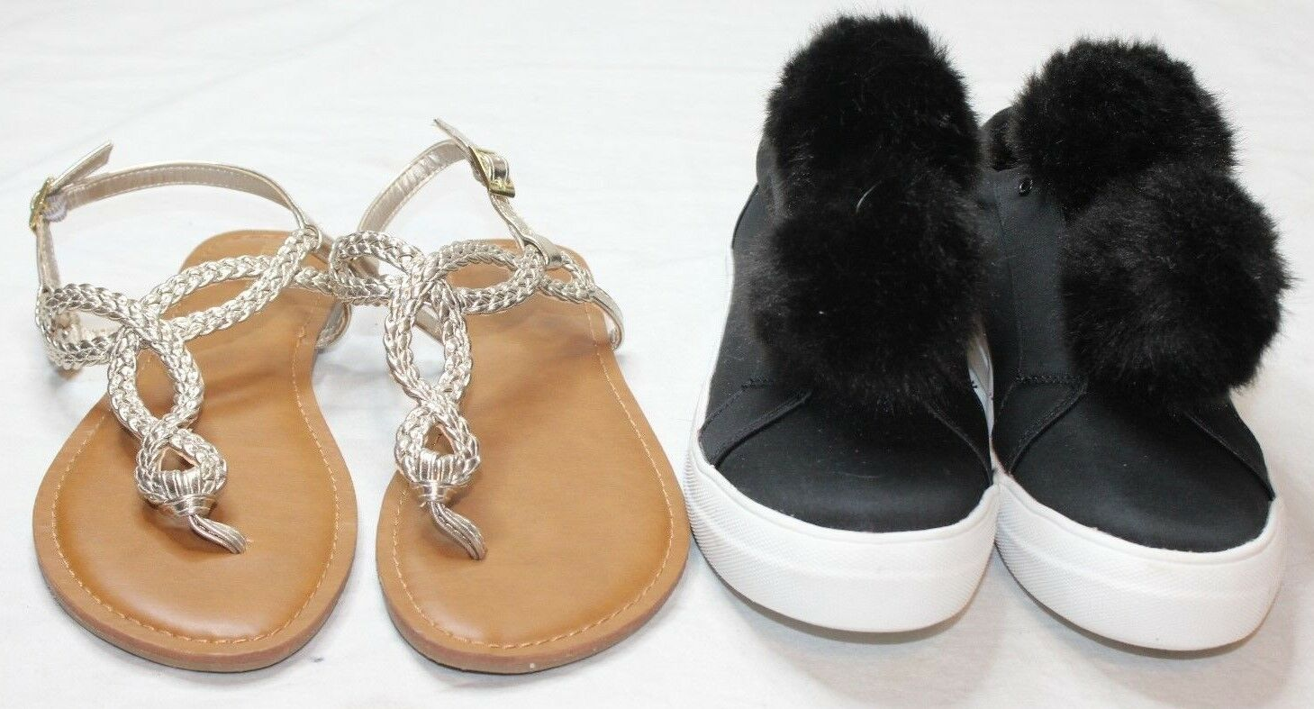 5671487d4f83 Lot of 2 Pairs Women s Size 8.5 Shoes Mossimo Sneakers Merona Sandals Black  Gold 1 of 5Only 1 available ...