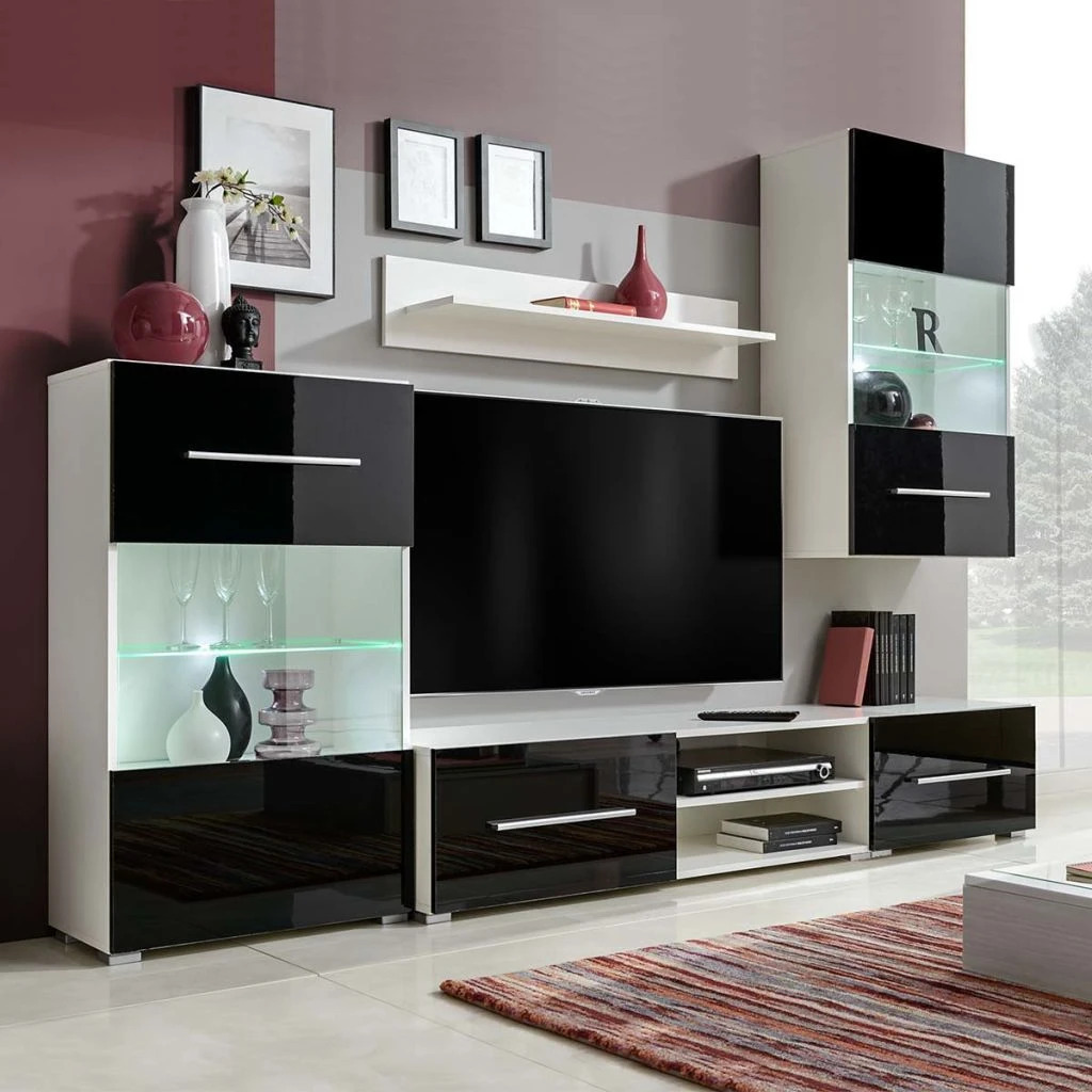 vidaxl 5tlg hochglanz wohnwand mediawand tv schrankwand mit led schwarz wei eur 208 99. Black Bedroom Furniture Sets. Home Design Ideas