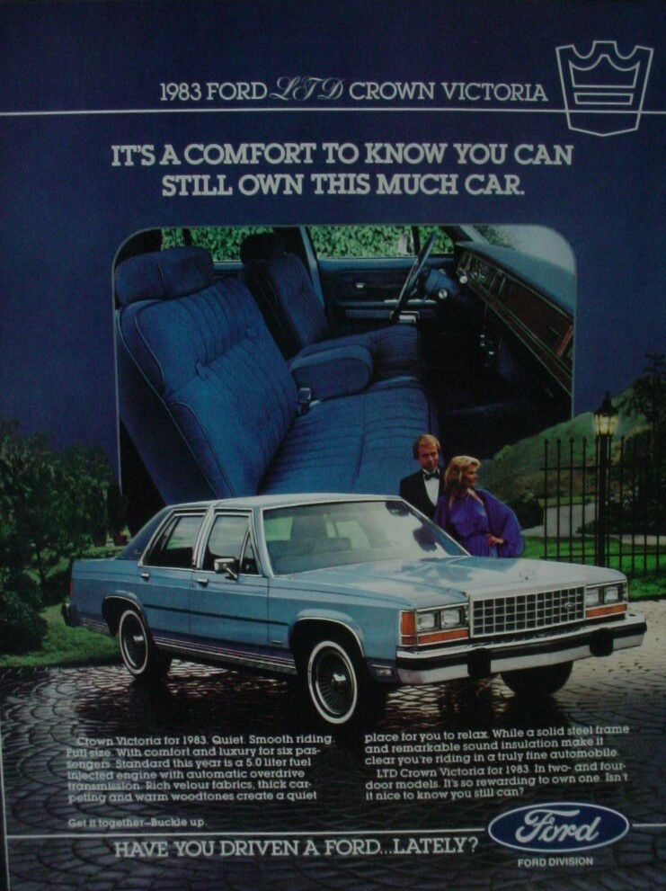 1982 ford ltd crown victoria 1983 model vintage print ad 12865 1 of 1only 1  available