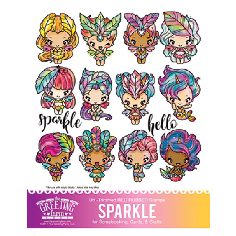 Sparkle kit the greeting farm rubber stamp stamping craft magical 1 of 1only 2 available m4hsunfo